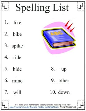 1st grade spelling words 1