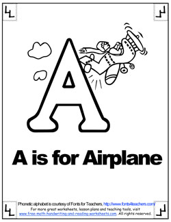 Alphabet Coloring A Is For Airplane B Is For A Is For Airplane Coloring Page
