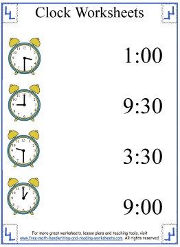 Clock Worksheets - Learning Half-Hours