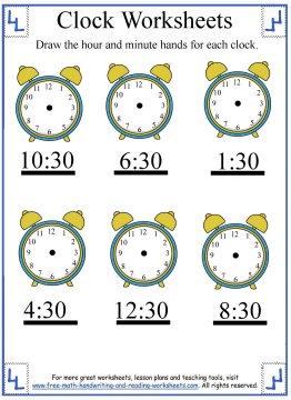 clock worksheets 5