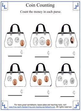 Coin Counting - Mixed Coins Worksheets