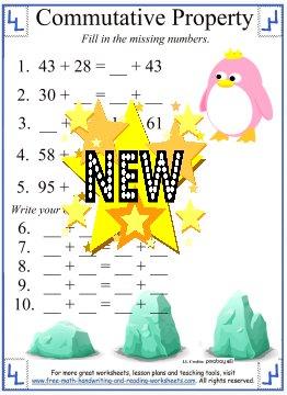 math worksheet : commutative property of addition worksheets 5th grade  mutative  : Addition Properties Worksheets 4th Grade