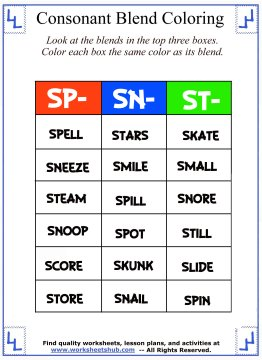 Consonant Blend Worksheets Identify Color