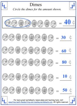 Counting Dimes - Coin Worksheets