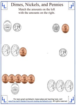 counting dimes, nickels, and pennies worksheet 2
