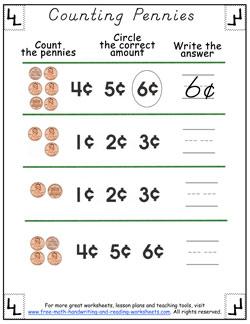 counting pennies worksheet 3