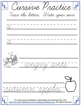 lowercase letter a cursive handwriting practice