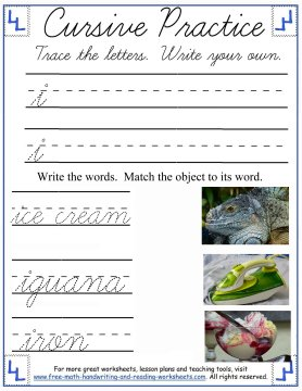 cursive lowercase i handwriting sheet