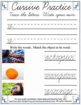 lowercase o cursive worksheet