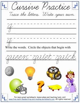 lowercase q cursive worksheet