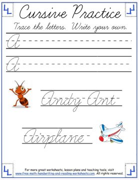 cursive writing worksheets uppercase letter A