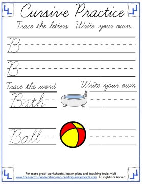 cursive writing worksheets uppercase letter B