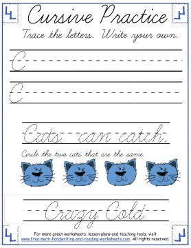 cursive writing worksheets uppercase letter C