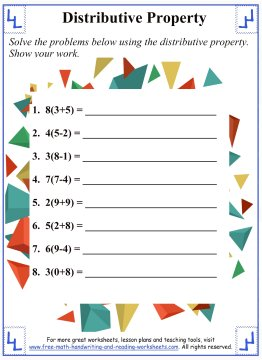 Printables Distributive Property Worksheets distributive propertymath worksheets property 3