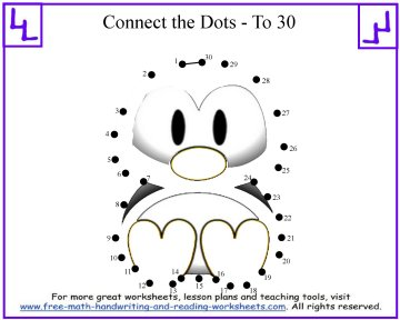 math worksheet : dot to dot printables learn to count to 30 : Connect The Dots Math Worksheets