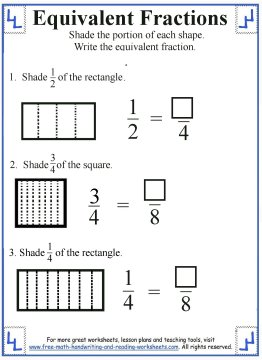equivalent fraction worksheets 1