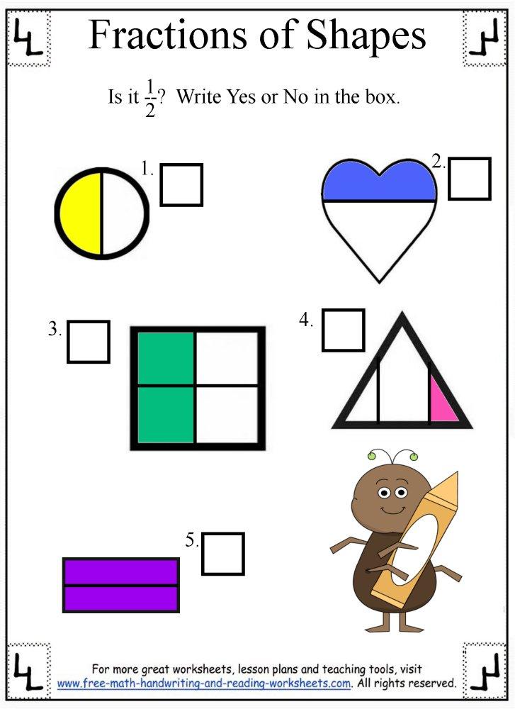 Fractions Worksheet:Dividing Shapes