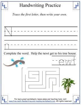 letter Nn handwriting practice sheet