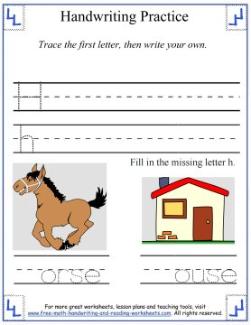 Handwriting Practice Worksheets:Printing Gg-Ll
