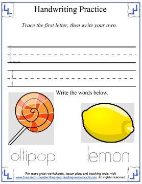 Handwriting Practice Worksheets:Printing Gg-Ll