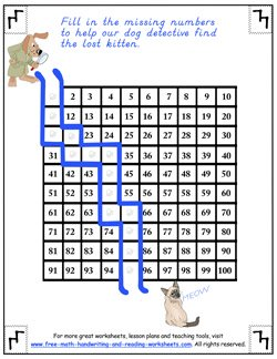 hundreds chart worksheet 2