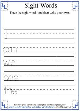 Number Names Worksheets kindergarten writing page : Kindergarten Sight Words Activities