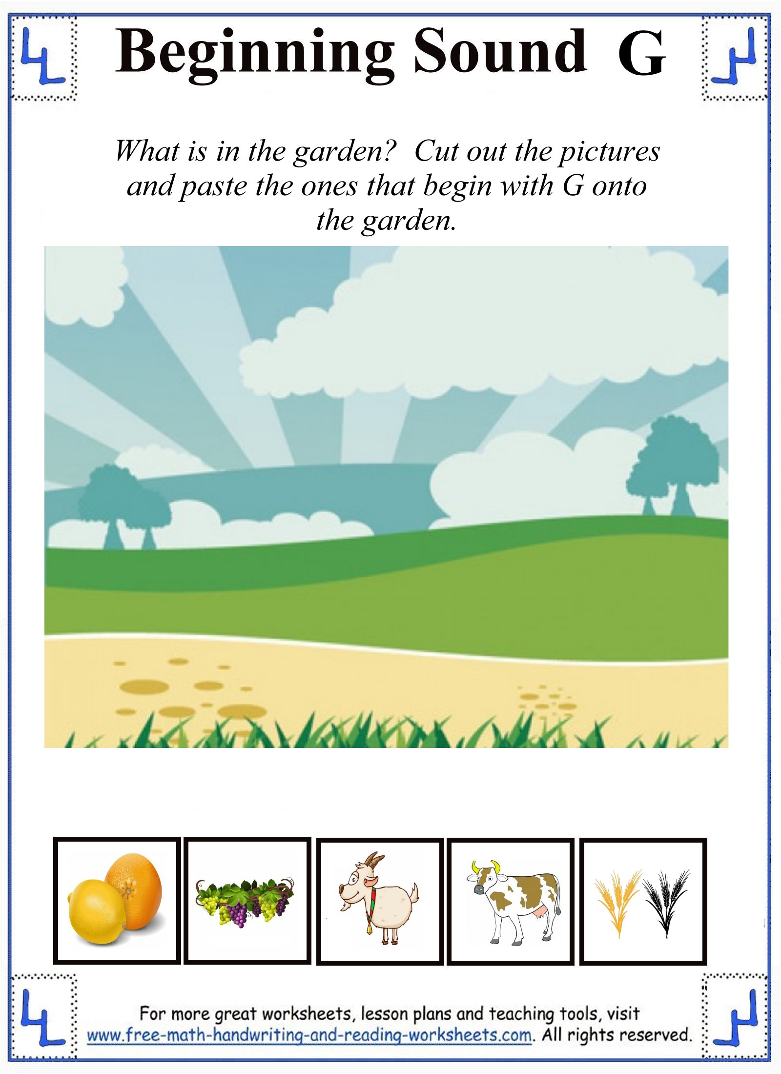 letter g cut and paste activity sheet