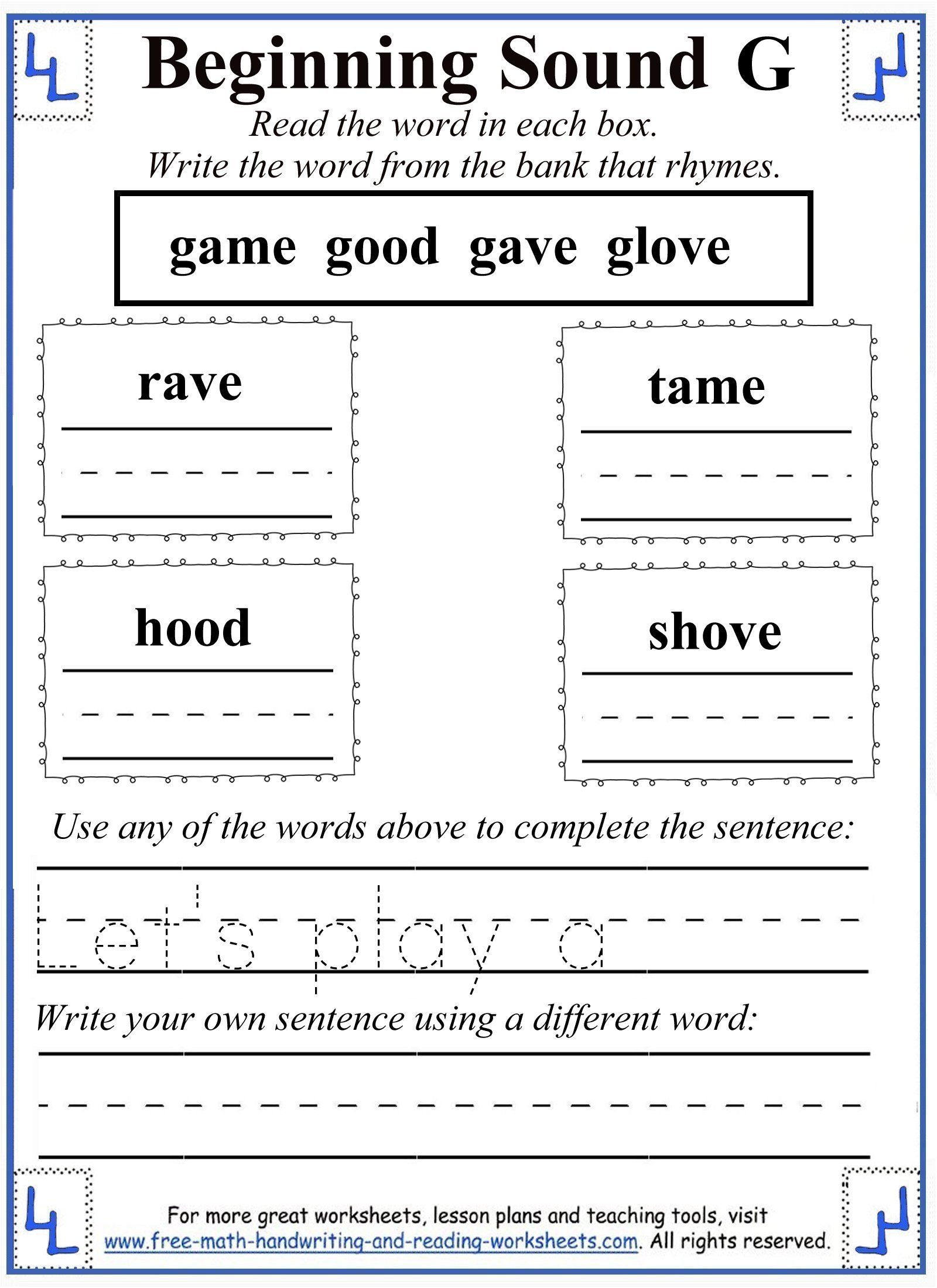letter g rhyming activity