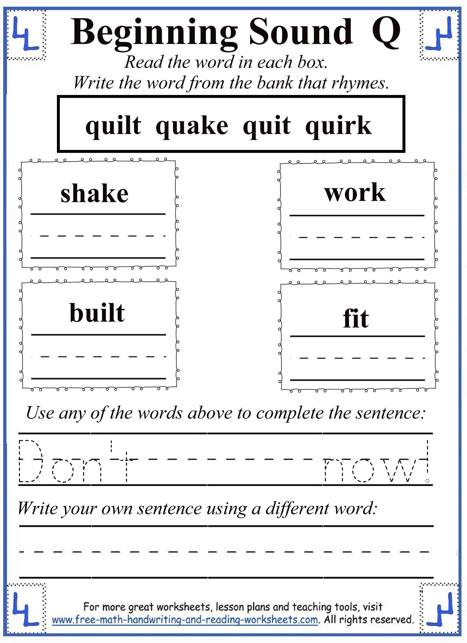 letter q rhyming activity