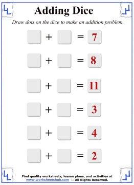 math worksheet : math addition worksheets adding dice : Blank Addition Worksheets