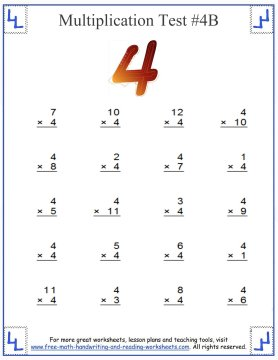 fours multiplication test