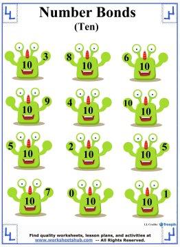 Number Bonds to 10 Worksheet 4