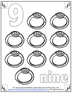number 9 coloring page