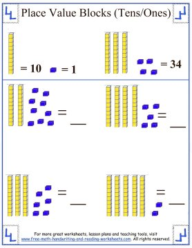 tens place value blocks worksheet