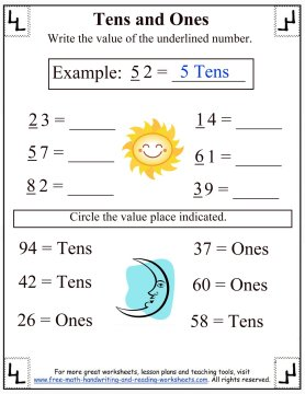 Place Values:Tens & Ones Worksheets