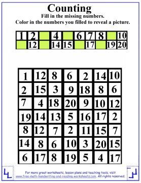 preschool counting worksheet with missing numbers