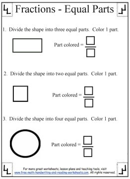 Fractional Parts Worksheet & copy of 5 mc fractions lessons tes teach