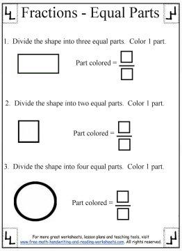printable fraction worksheets equal parts. Black Bedroom Furniture Sets. Home Design Ideas