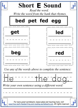 Number Names Worksheets short vowel sound worksheets for first grade : Short E Worksheets and Activities