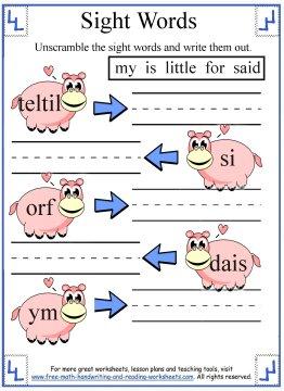 sight words kindergarten 3