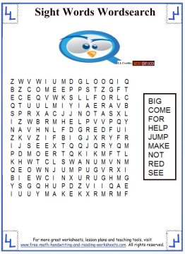 sight words word search 1