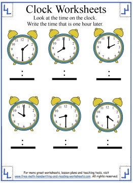 telling time worksheet 4