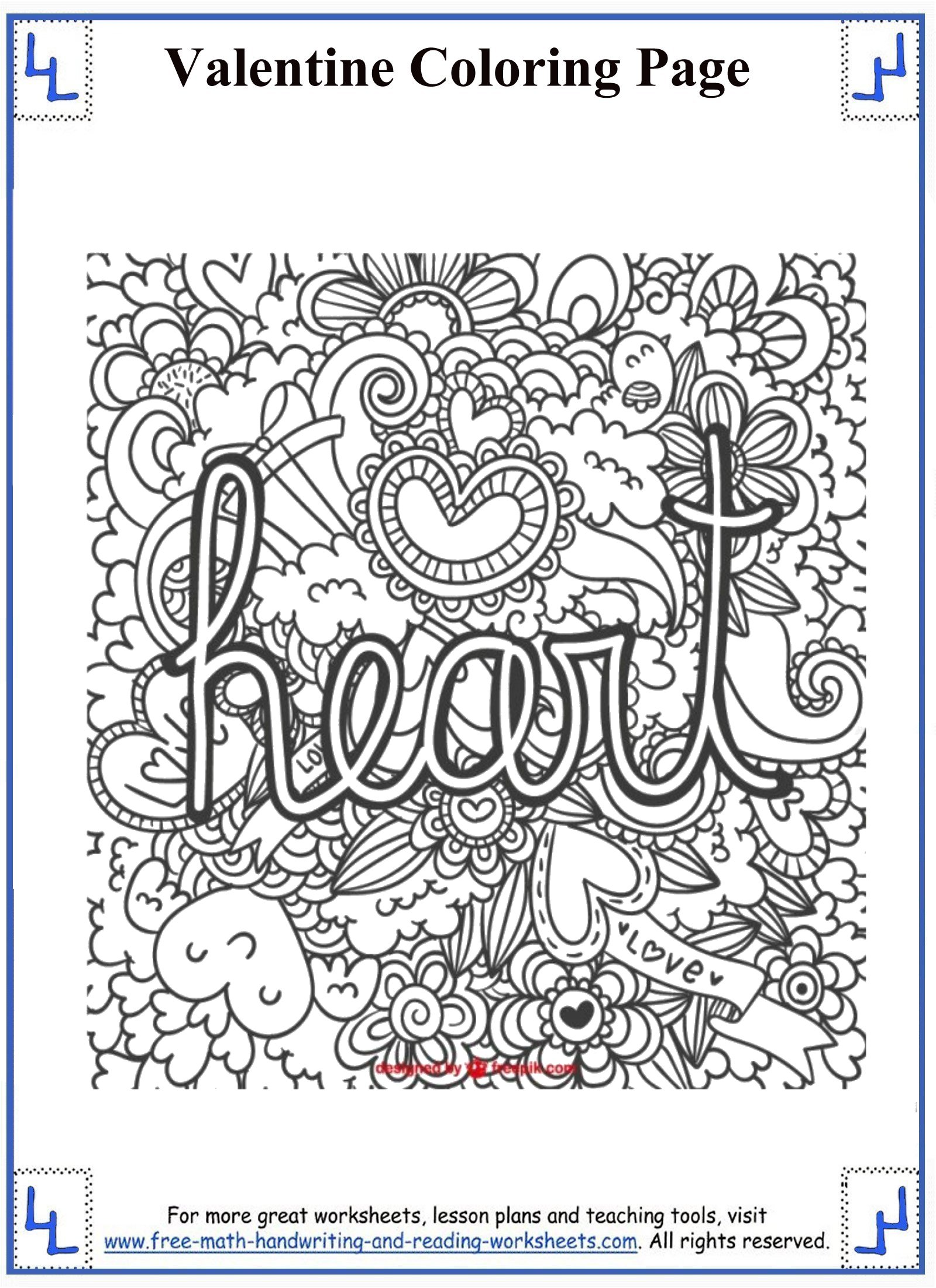 valentine coloring stationary pages - photo#15