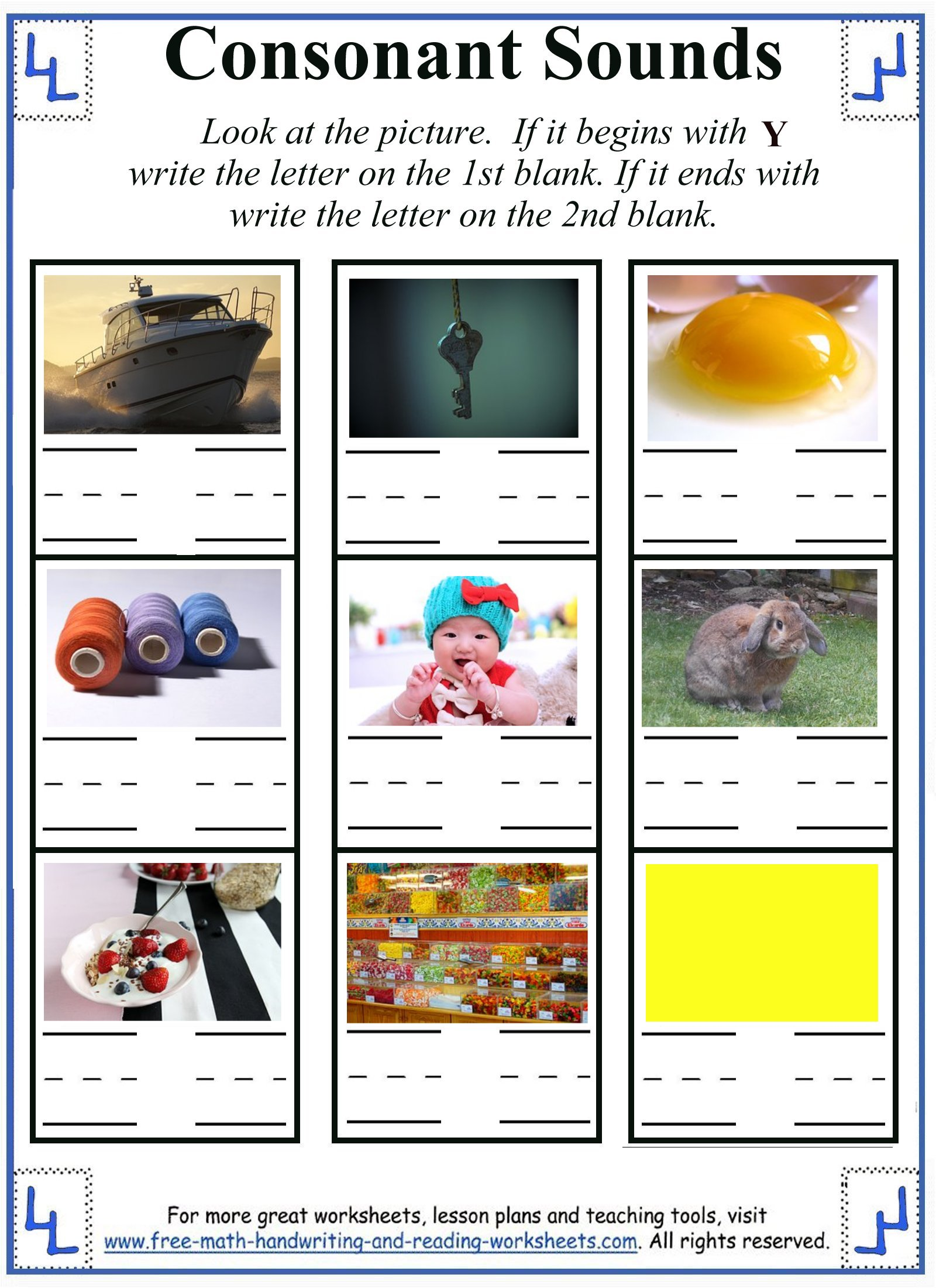 beginning and ending y sound activity