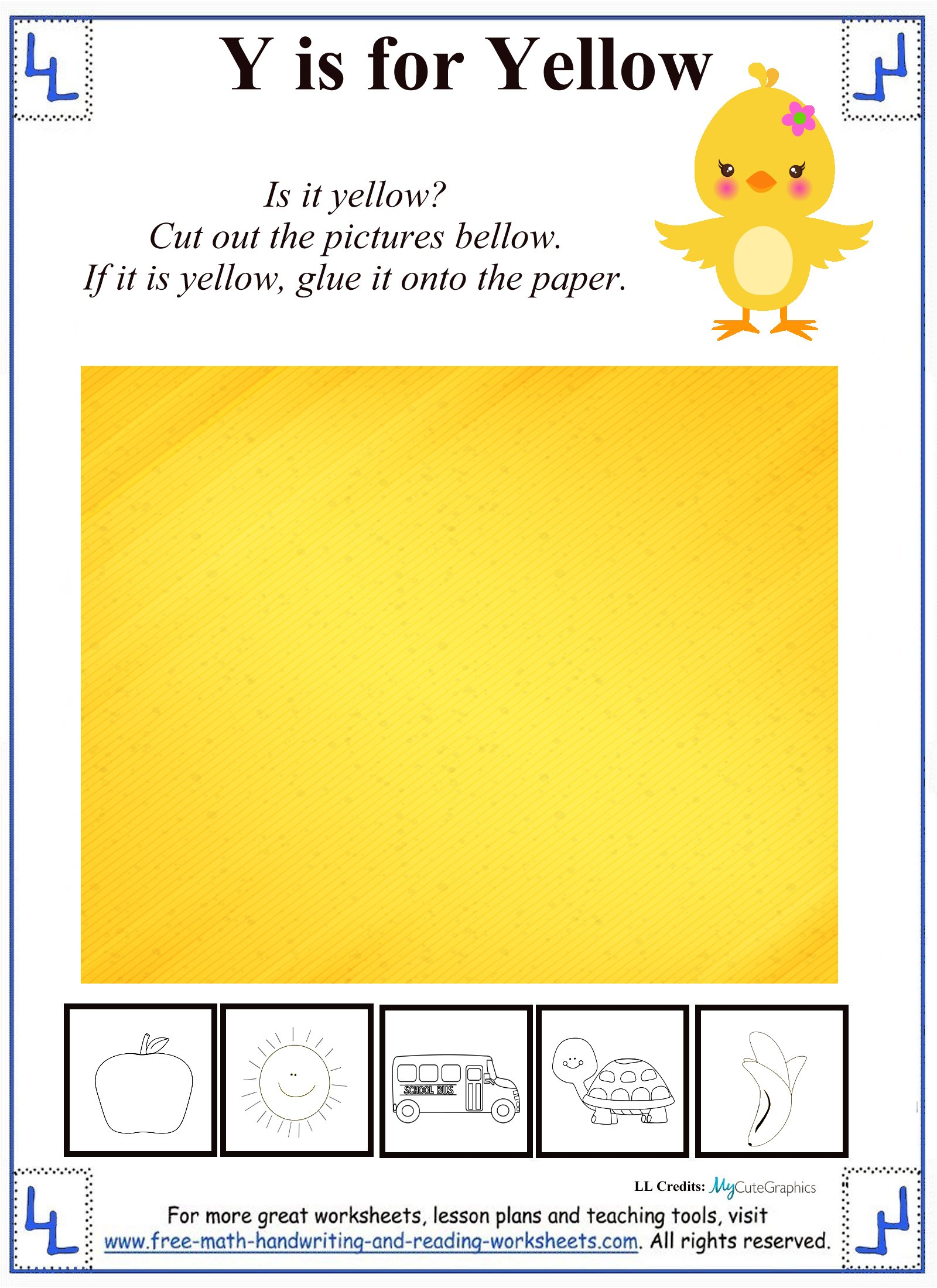 y is for yellow activity sheet
